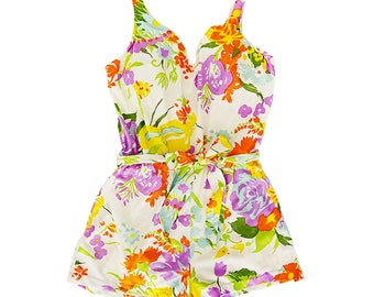 Vintage 1960s Jantez Swimsuit Romper Bright Floral print Made in USA 38D size: 10-12