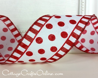 """Wired Ribbon, 2 1/2"""" wide, Red Glitter Polka Dots and Stripes  - TEN YARD ROLL -  """"Dots in a Line"""" Christmas, Valentine Wire Edged Ribbon"""