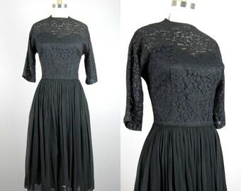 Vintage 1950s Black Lace and Chiffon Dress 50's Cocktail Dress Size 8M