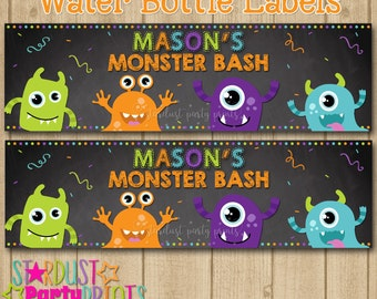 Mosters Water Bottle Labels, Monster Water Bottle Labels, Monster Bash Water Bottle Labels