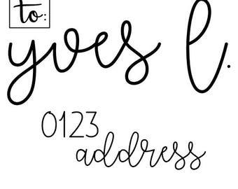 Handlettered Invitation Address