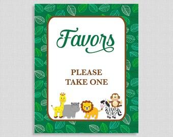 Favors Please Take One Sign, Jungle Baby Animals Shower Favor Sign, Green, Gender Neutral, Lion,  INSTANT PRINTABLE