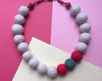 Felt necklace, grey necklace, pink felt necklace, paper bead necklace, felt ball necklace, felted necklace, chunky necklace