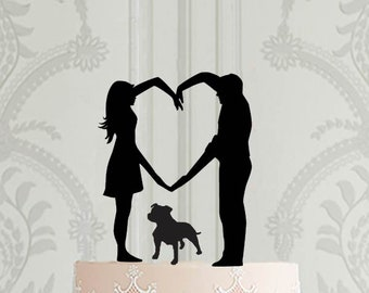 Wedding cake topper,  Bride and Groom , with pet, dog or cat