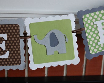 Welcome Baby Banner, Elephant Baby Shower Banner, Elephant Decorations, Elephant Party, Sage Brown Grey