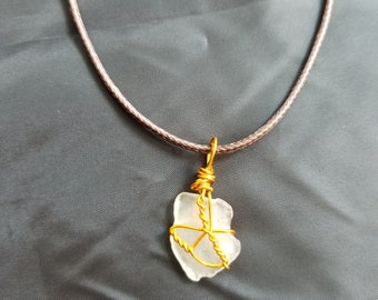 Clear sea glass with gold