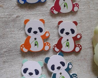 """set of 10 """"pandas"""" multicolored buttons, wooden"""