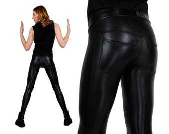 Mens Leggings w. Jeans Back, Meggings, Burning Man Men, Mad Max, Wasteland Costume, Festival Pants Men, Festival Clothes Men, by LENA QUIST
