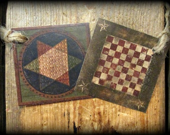 Primitive Game Boards Checkers Hang Tags