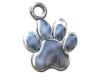 Dog Paw Print Charm in Sterling Silver - 10mm, Man's Best Friend