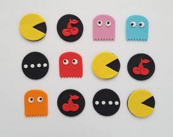 12 Pacman Fondant Cupcake Toppers
