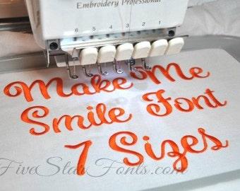 Make Me Smile Embroidery Font