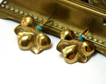 Solid Gold Earrings Dangle,Hammered Gold Earrings, Handcrafted Gold Jewelry,Yellow Gold Turquoise Earrings,Fine Jewelry Dangle Earrings