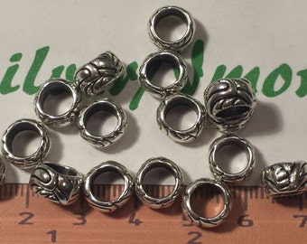 16 pcs per pack 9x5mm fancy textured 6mm Large Hole Beads Antique Silver Lead Free Pewter