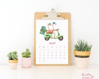 Pink Flamingo 2018 Calendar, English