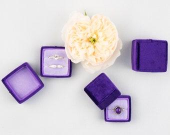 Velvet ring box - Vintage ring box - Wedding - Gift - Purple