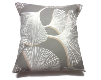 Decorative Pillow Cover Gingko Leaf Design Slate Gray Khaki Off White Same Fabric Front/Back Toss Throw Accent 18x18 inch x