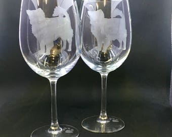 Chihuahua Long Haired on Wine Glasses (set of 2)