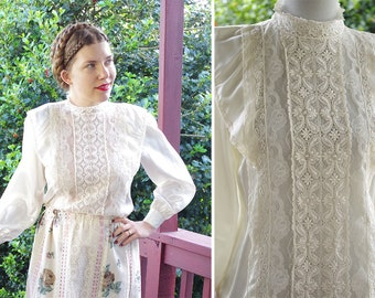 VICTORIAN Revival 1970's 80's Vintage Cream White Lacy Ruffled Blouse w/ Ruffled Lace Edges // size Small Medium // by DIVERSITY