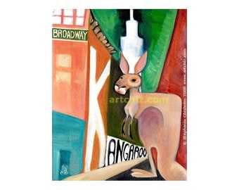 K for Kangaroo. Kangaroo Art.  Kangaroo under Broadway Light in New York City.  Alphabet Animal Art. Kids Art. Illustration. Poster