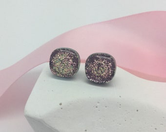 Stud Earrings-Golden Pink Dichroic Glass Earrings, Round Post Earrings