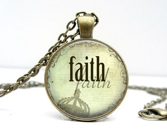 Faith Necklace, Soft Green Glass Dome Pendant Picture Pendant Photo Pendant Handcrafted Jewelry  (1107)