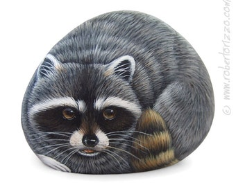 An Original Stone Painted Raccoon! | Rock Painting Art by Roberto Rizzo