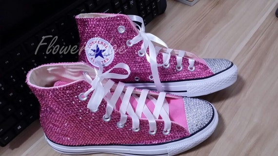 Hot pink crystal flower girl shoes converse sparkle swarovski hot pink crystal flower girl shoes converse sparkle swarovski crystal high top bridal flower girl sneaker shoes white satin lace ribbon mightylinksfo Choice Image
