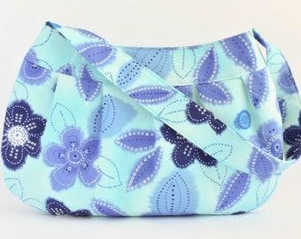 Pleated Fabric Purse, Large - Blue Floral - Buttercup bag, cotton, handbag, large, purse, pleats, spring, flowers, blue, white