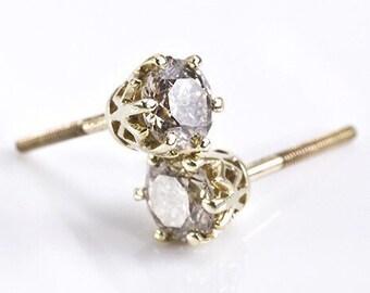 1 carat Diamond Earrings-Yellow Gold Earrings-Diamond Stud Earrings-Women Jewelry-Round diamond earrings-Anniversary present-Stud earrings