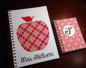 Personalized notebook teacher custom girl gift teen - APPLES SPIRAL
