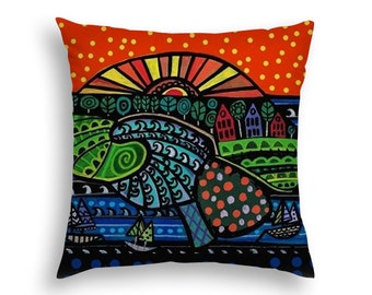 50% SALE- Human Brain Island Surreal Head Art Pillow -   -  Modern Abstract Folk Art by Heather Galler Medical Science Anatomy