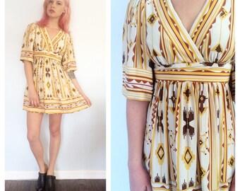 Vintage Betsey Johnson Navajo Silk Kimono Mini Dress 4
