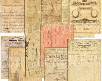 11 Full Size Sheets of Distressed Ephemera  - Journaling Papers -  Printable Collage Sheet - Digital Download paper pack