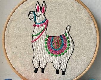 Llama digital machine embroidery design | Flowerdog designs