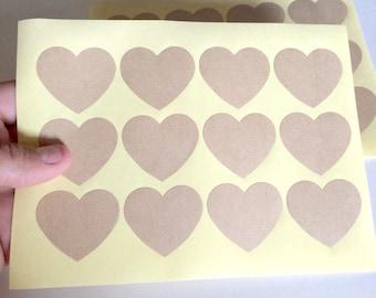 24 kraft heart sticker - blank heart label - wedding heart favor sticker - wedding favors - envelope seals - gift wrapping stickers - kraft