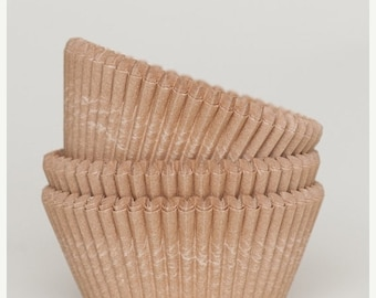 Mothers Day Sale 50 Pc Pretty Unbleached Natural Kraft Cupcake Liners 2X1.25 Inch Size Perfect for Parties