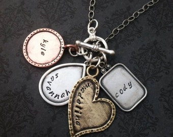 Hand Stamped Jewelry -Personalized Necklace  - Family necklace - Gift for her - Wife Statement Jewelry - Say Anything Jewelry