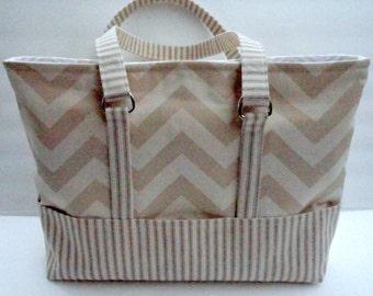 Tote Bag Diaper Bag Purse  Lots of Pockets  Medium Size  Khaki Chevron Ready to Ship