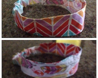 Adult broken chevron/feather reversible fabric headband/hairband/hair accessory