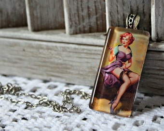 Pin up glass pendant necklace. Handmade.