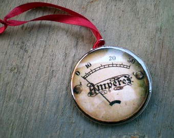 Steampunk Christmas Ornament, 2.25 Inch Hand Pressed, Available in Magnet, Pin or Pocket Mirror