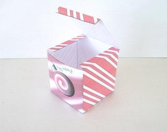 Christmas DIY Printable Christmas Red Peppermint Gift Box Christmas Ball Printable Cube Favor Boxes