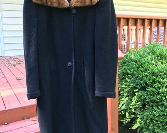 RARE Vintage 1940s black fur collar dress coat