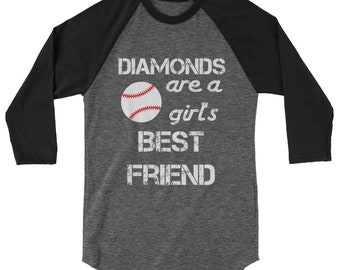 Diamonds Are A Girl's Best Friend 3/4 Sleeve Baseball Shirt | Baseball Mom Shirts | Funny Baseball Tshirt Womens Shirts Womens Gift Cute Tee