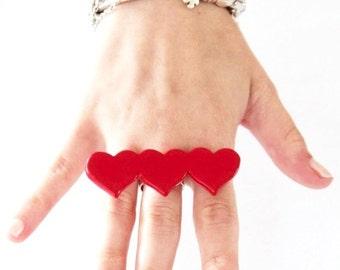Statement Jewelry, Heart Ring Ceramic Ring - red heart, gift for her, Valentines Da, handmade ring ceramic jewelry heart ring StudioLeanne