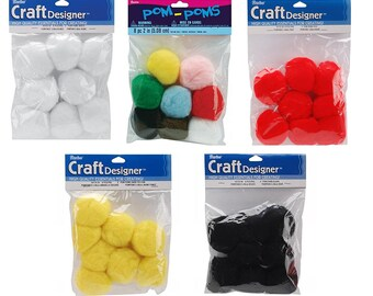 Acrylic Pom Poms - 2 inch - 8 pieces per package - 5 colors 10179 fnt