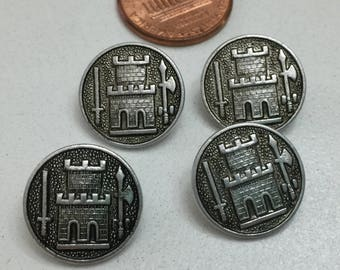 B112 Vintage silver shank buttons with castle design 4 Pc collectibles