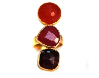 Ruby and Carnerian Stones Trio Ring