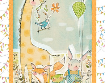 Hello World Good Day - Wee Pals Panel by Cori Dantini for Blend Fabrics